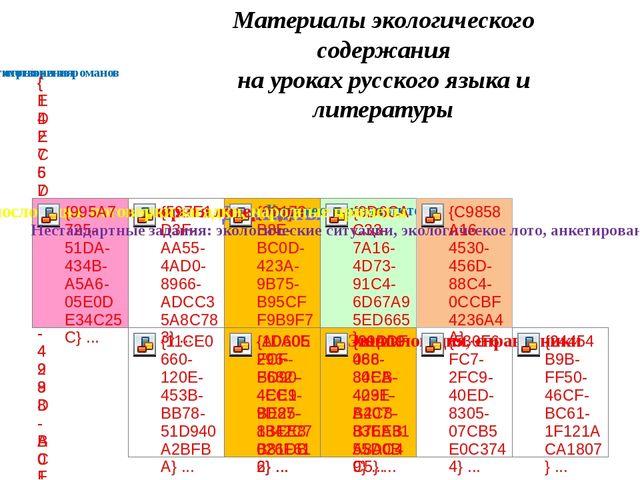 Материалы экологического содержания на уроках русского языка и литературы