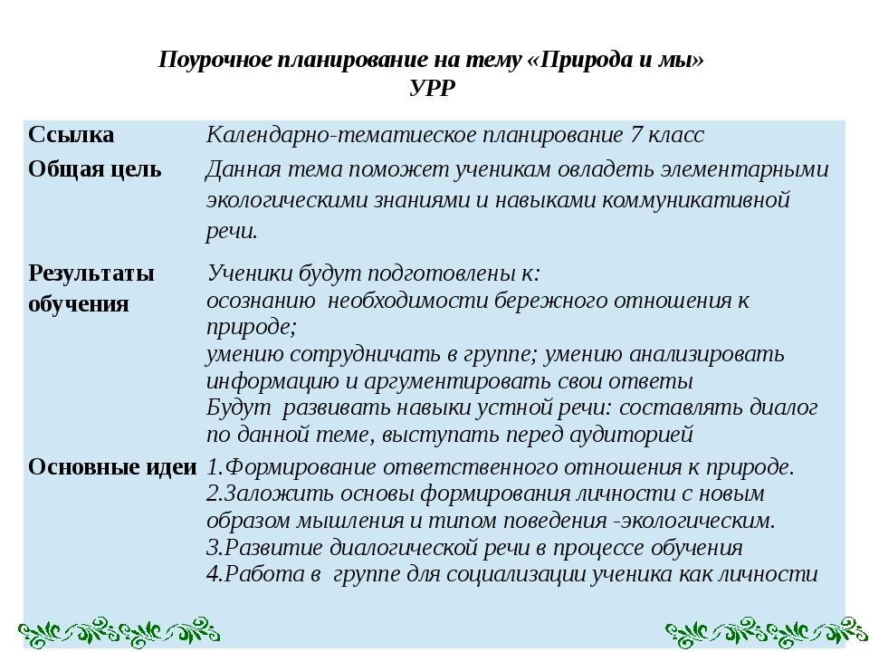 Поурочное планирование на тему «Природа и мы» УРР Ссылка Календарно-тематиеск...