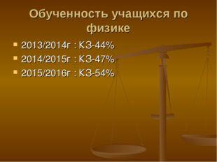 Обученность учащихся по физике 2013/2014г : КЗ-44% 2014/2015г : КЗ-47% 2015/2
