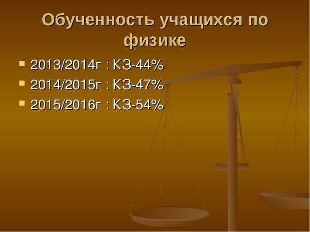 Обученность учащихся по физике 2013/2014г : КЗ-44% 2014/2015г : КЗ-47% 2015/2...