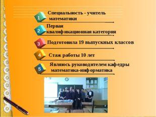 4 1 2 3 Стаж работы 10 лет Первая квалификационная категория Специальность -