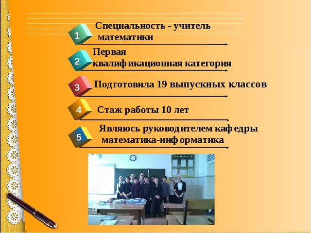 4 1 2 3 Стаж работы 10 лет Первая квалификационная категория Специальность -...