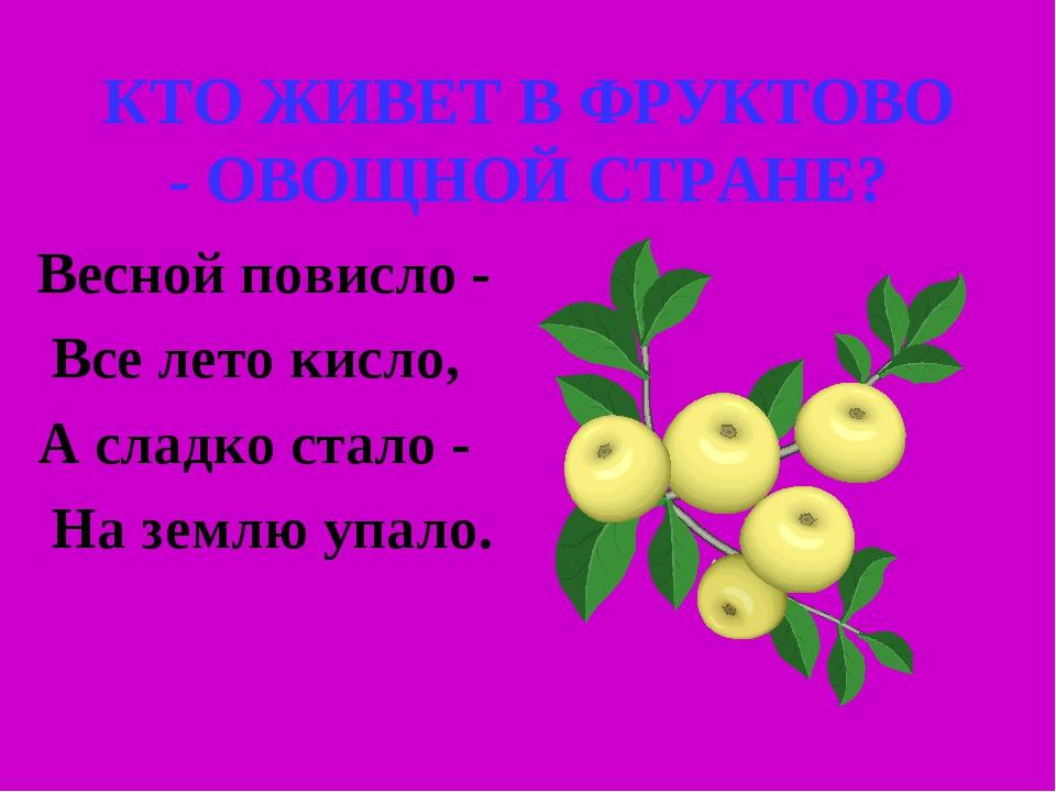 КТО ЖИВЕТ В ФРУКТОВО - ОВОЩНОЙ СТРАНЕ? Весной повисло - Все лето кисло, А сла...