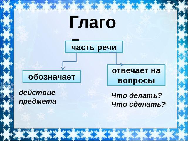 Глагол часть речи отвечает на вопросы обозначает действие предмета Что делат...