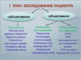 субъективное объективное Сбор данных Паспортные данные пациента; Диагноз врач