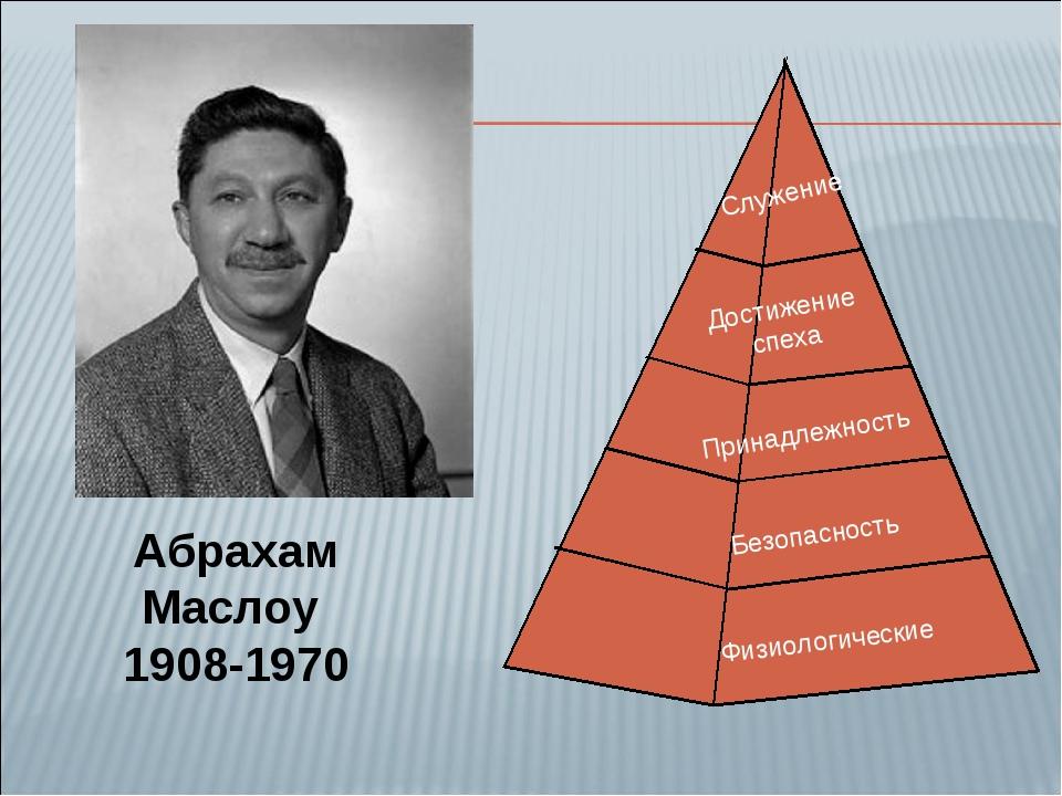 Абрахам Маслоу 1908-1970 Физиологические Безопасность Принадлежность Достижен...