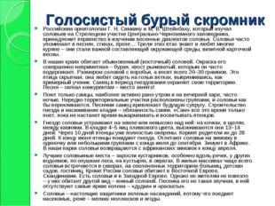 Голосистый бурый скромник Российским орнитологам Г. Н. Симкину и М. В. Штейнб