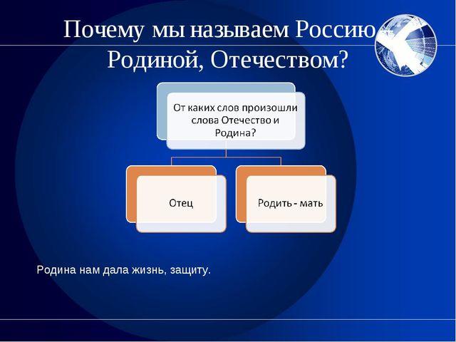 Почему мы называем Россию – Родиной, Отечеством? Родина нам дала жизнь, защиту.