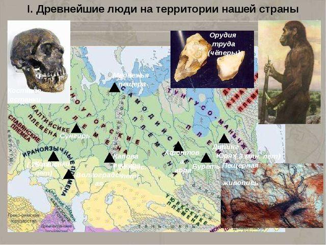 I. Древнейшие люди на территории нашей страны Медвежья пещера Сунгирь Костенк...