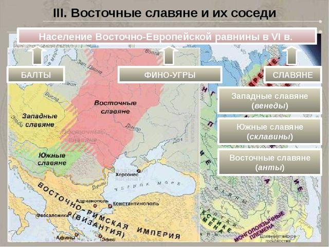 III. Восточные славяне и их соседи Население Восточно-Европейской равнины в V...