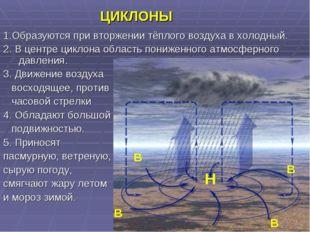 ЦИКЛОНЫ 1.Образуются при вторжении тёплого воздуха в холодный. 2. В центре ц