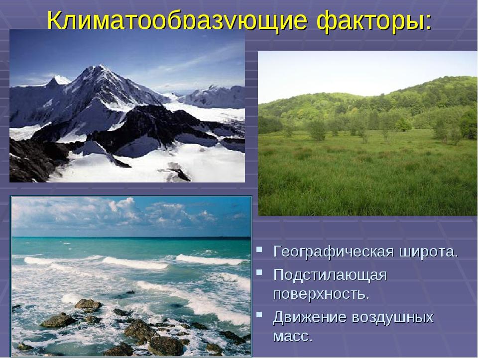 Климатообразующие факторы: Географическая широта. Подстилающая поверхность. Д...