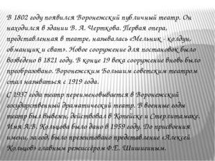 В 1802 году появился Воронежский публичный театр. Он находился в здании В. А.