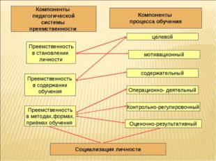 Компоненты педагогической системы преемственности Преемственность в становлен