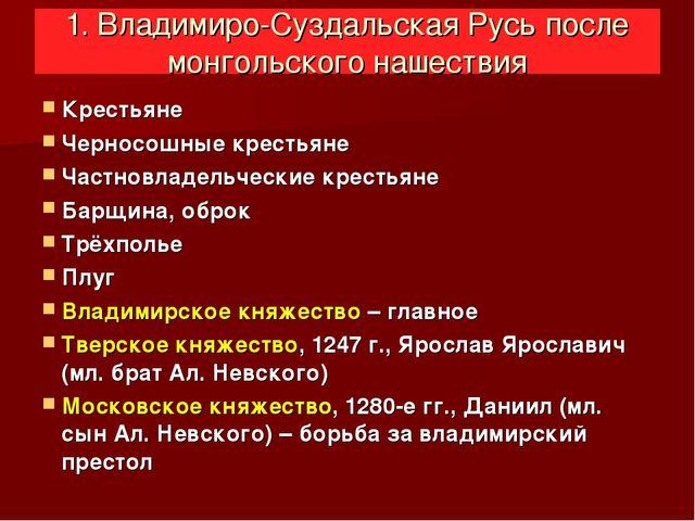 1. Владимиро-Суздальская Русь после монгольского нашествия Крестьяне Черносо...