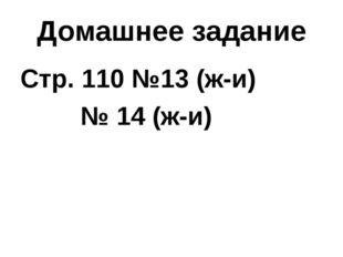 Домашнее задание Стр. 110 №13 (ж-и)  № 14 (ж-и)