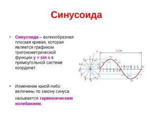 Синусоида Синусоида – волнообразная плоская кривая, которая является графиком