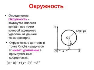 Окружность Определение: Окружность - замкнутая плоская кривая, все точки кото