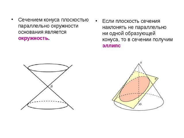 Сечением конуса плоскостью параллельно окружности основания является окружнос...