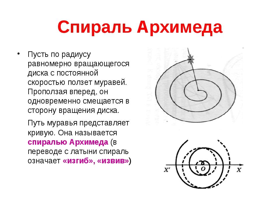 Спираль Архимеда Пусть по радиусу равномерно вращающегося диска с постоянной...