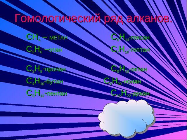 Гомологический ряд алканов. CH4 – МЕТАН C6H14-гексан C2H6 –этан C7H16-гептан...