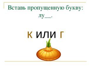 Вставь пропущенную букву: лу__. к или г