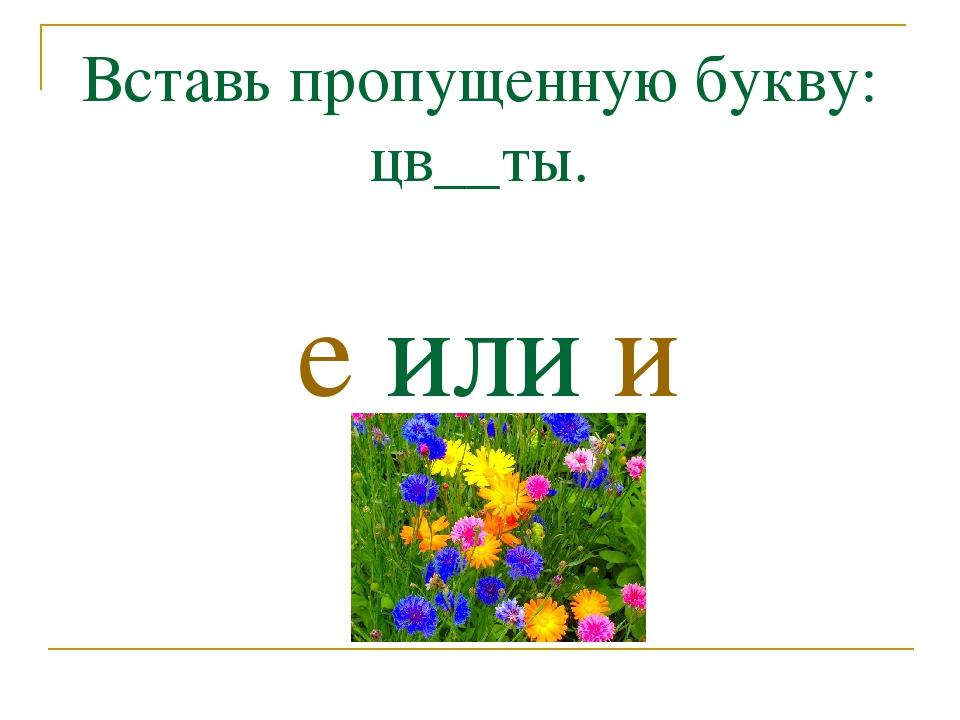 Вставь пропущенную букву: цв__ты. е или и