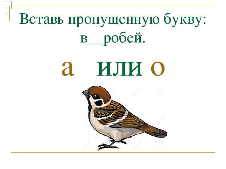 Вставь пропущенную букву: в__робей. а или о