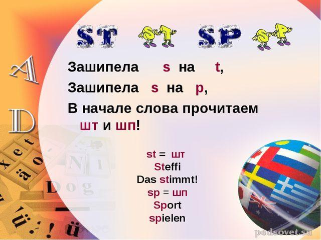 Зашипела s на t, Зашипела s на p, В начале слова прочитаем шт и шп! st = шт S...