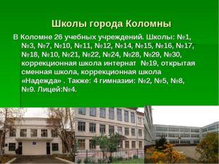 Школы города Коломны В Коломне 26 учебных учреждений. Школы: №1, №3, №7, №10,