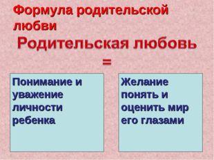 Формула родительской любви Понимание и уважение личности ребенка Желание поня
