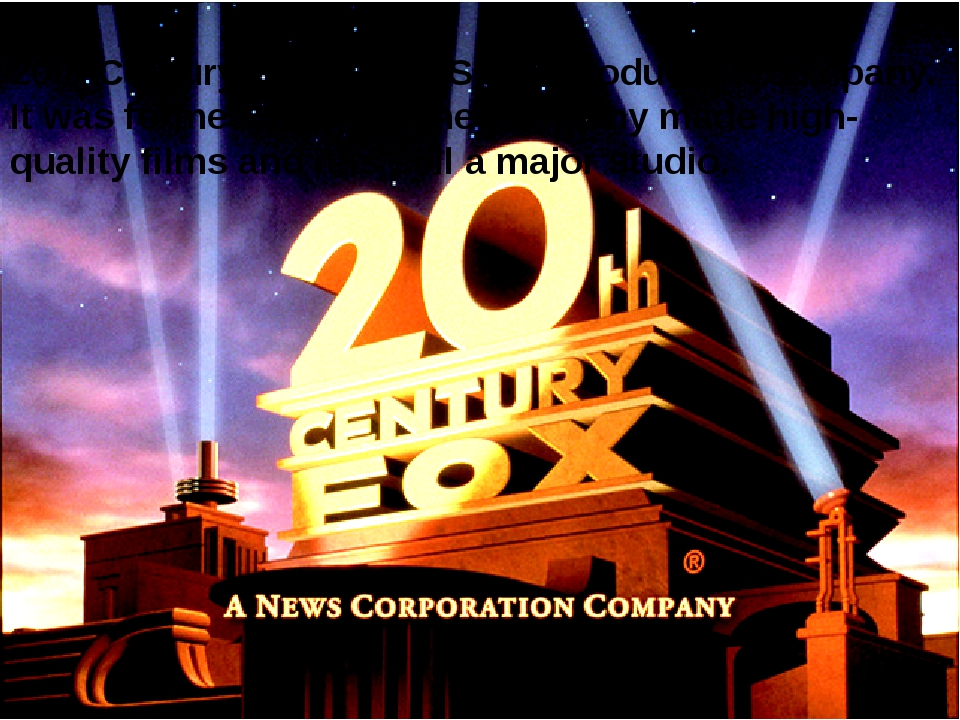 20th Century Fox is an US film production company. It was formed in 1935. The...