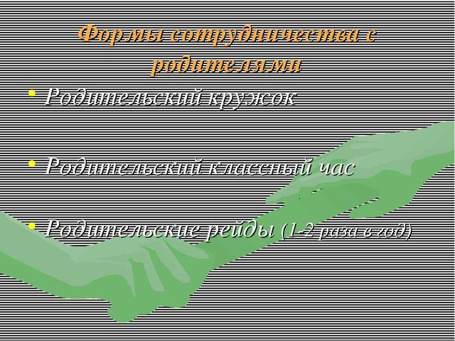 Формы сотрудничества с родителями Родительский кружок Родительский классный ч...