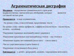 Аграмматическая дисграфия Механизм – недоразвитие грамматического строя речи: