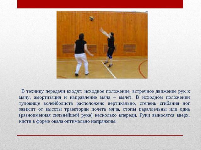 В технику передачи входят: исходное положение, встречное движение рук к мячу...