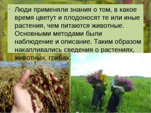 Люди применяли знания о том, в какое время цветут и плодоносят те или иные р