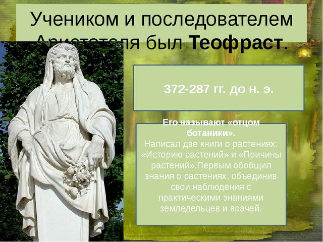 Учеником и последователем Аристотеля был Теофраст. 372-287 гг. до н. э. Его н...