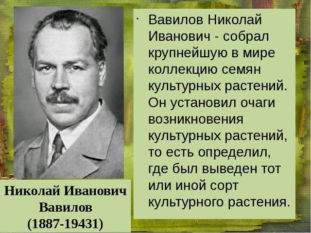 Вавилов Николай Иванович - собрал крупнейшую в мире коллекцию семян культурн...
