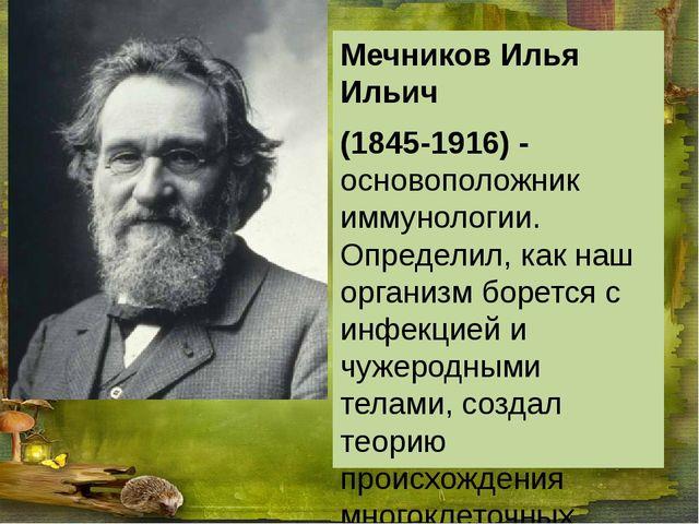 Мечников Илья Ильич (1845-1916) - основоположник иммунологии. Определил, как...