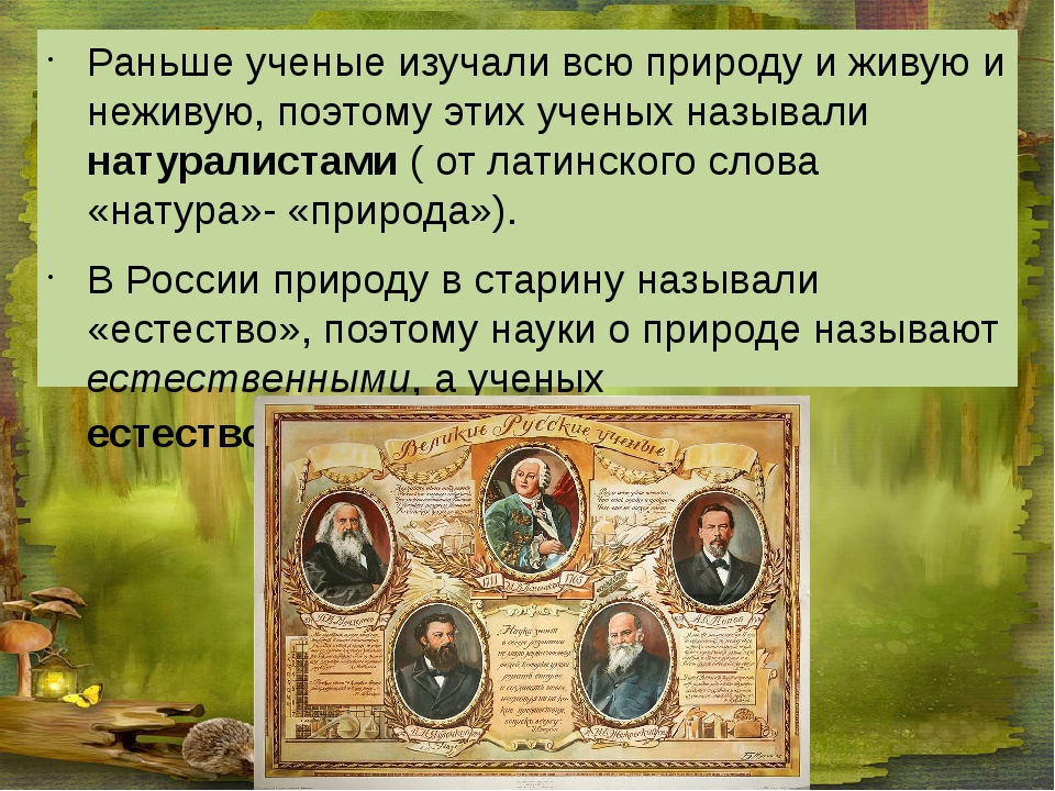 Раньше ученые изучали всю природу и живую и неживую, поэтому этих ученых наз...