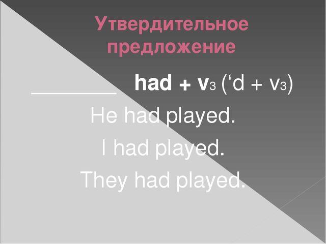 Утвердительное предложение _______ had + v3 ('d + v3) He had played. I had pl...