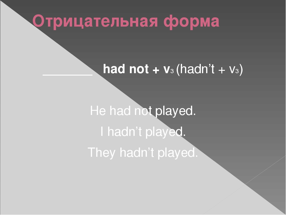 Отрицательная форма _______ had not + v3 (hadn't + v3) He had not played. I h...