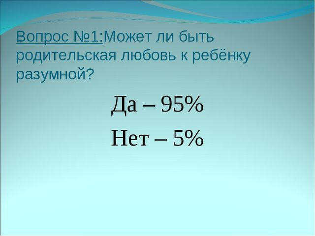 Вопрос №1:Может ли быть родительская любовь к ребёнку разумной? Да – 95% Нет...