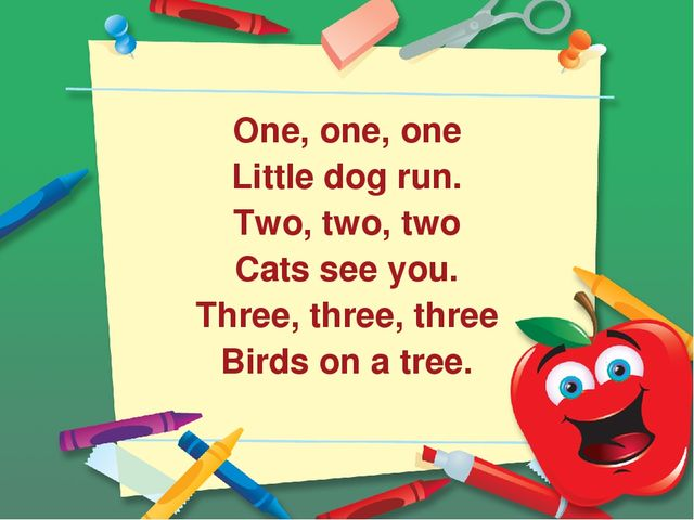 One, one, one Little dog run. Two, two, two Cats see you. Three, three, thre...