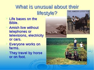 What is unusual about their lifestyle? Life bases on the Bible. Amish live wi