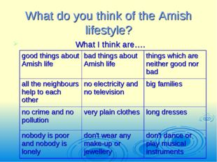What do you think of the Amish lifestyle? What I think are…. good things abou