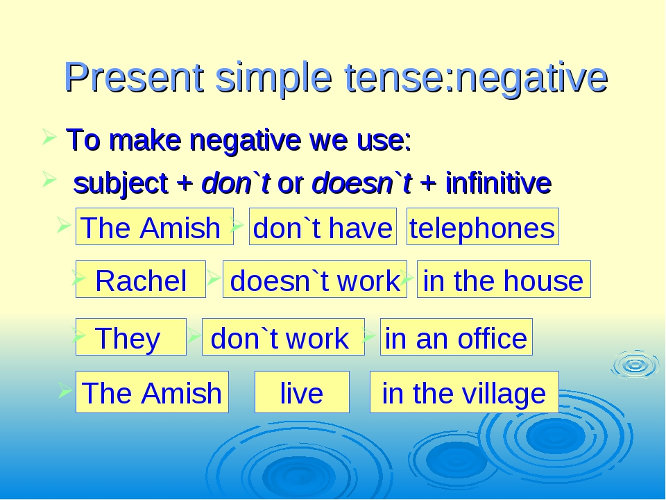 Present simple tense:negative To make negative we use: subject + don`t or doe...
