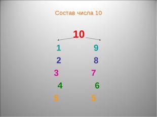 Состав числа 10 10 9 8 7 6 5