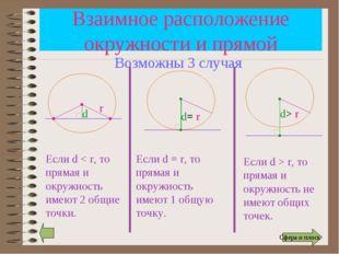 Взаимное расположение окружности и прямой r d Если d < r, то прямая и окружно