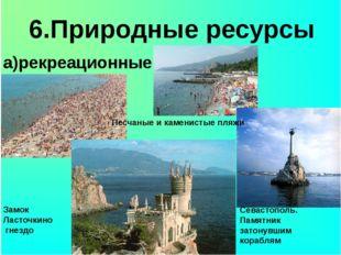 6.Природные ресурсы а)рекреационные Песчаные и каменистые пляжи Замок Ласточ